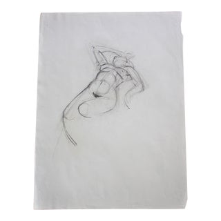 Vintage Nude Reclining Hand on Face Pencil / Graphite Sketch #5 Artist Julianne Darrow Humar (1926-2018) For Sale