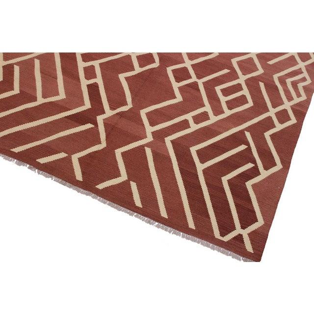 Bauhaus Modern Bauhaus Annabell Brown/Ivory Hand-Woven Kilim Wool Rug - 6'10 X 9'8 For Sale - Image 3 of 8