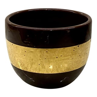 Aerin Espresso Ceramic Cachepot With 18k Gold Band For Sale