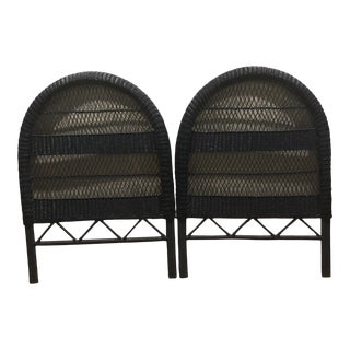Vintage French Blue Wicker Twin Headboards - a Pair For Sale