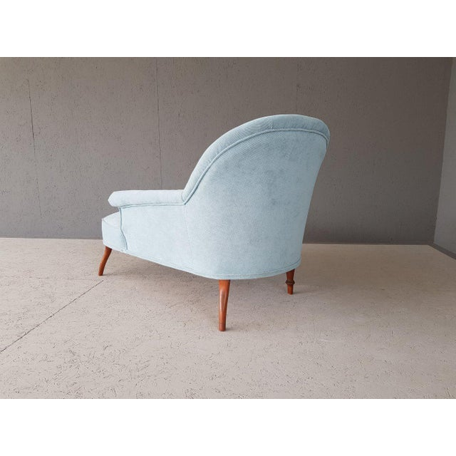 Sky Blue Upholstery Blue French Style Chaise Lounge For Sale - Image 8 of 13