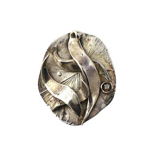 Vintage Mid Century Zahara Schatz Modernist Abstract Three Dimensional Sterling & Diamond Brooch For Sale