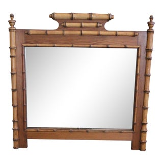 British Colonial Bamboo Mirror For Sale