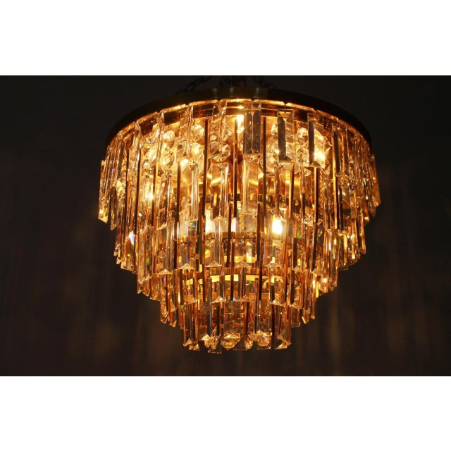 Pair of Crystal Glass Flush Mount Chandelier by Palwa, Germany, 1970s For Sale - Image 9 of 11