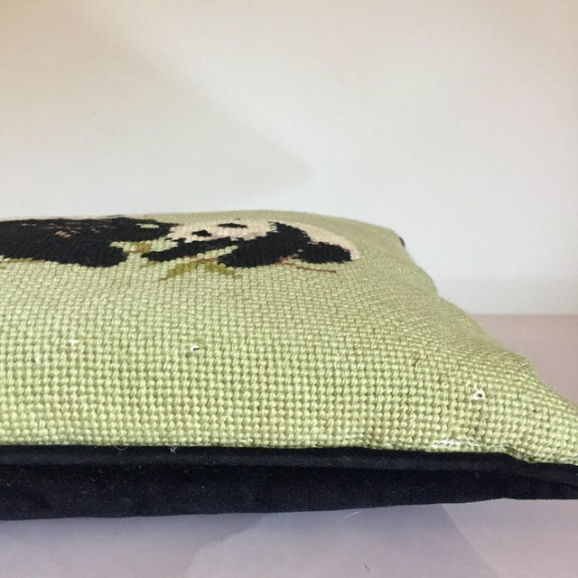 Green Needlepoint Panda Pillow For Sale - Image 8 of 10
