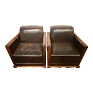 French Art Deco Leather Train Sleeper Club Chairs For Sale