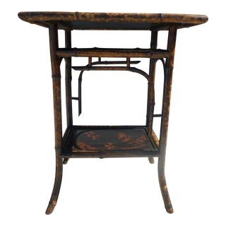 19th Century Victorian Rectangular Japanned Bamboo Side Table For Sale