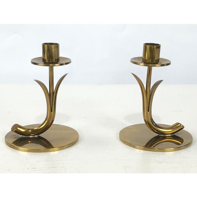 Hollywood Regency 1950's Ystad Metall Brass Candleholders by Gunnar Ander - a Pair For Sale - Image 3 of 9