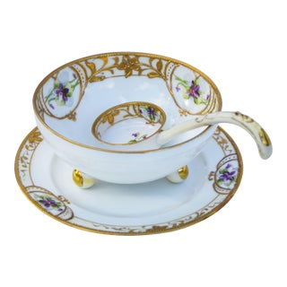 Hand-Painted Porcelain Gold Accent, S/3 For Sale