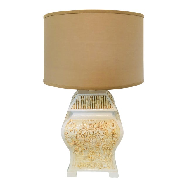 Italian Porcelain Pagoda Table Lamp With Shade For Sale