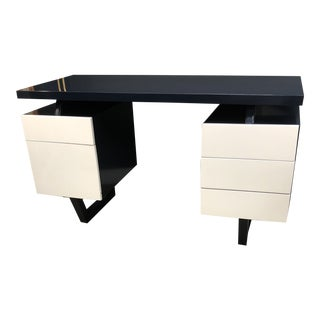 Vintage Midcentury Modern Lacquered Navy and Dove White Desk For Sale