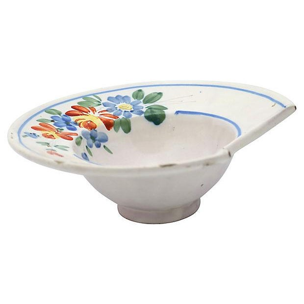 Antique French Faience Shaving Bowl For Sale - Image 4 of 4
