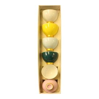 Chinese Multi-Color Porcelain Handmade Tea Cup 6 Pieces Set For Sale
