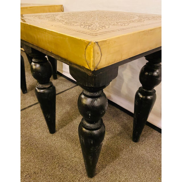 Moroccan End Tables in Fine Gold Brass & Carved Legs - a Pair For Sale - Image 9 of 13