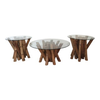Bamboo Coffee Tables - Set of 3 For Sale