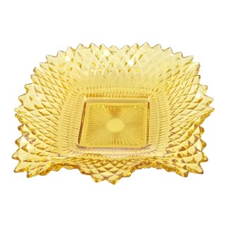 Vintage Citrine Glass Diamond Point Tray