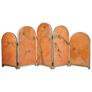 Peach Art Deco Carved Relief Floral Chinoiserie Folding Screen, Circa 1920 For Sale