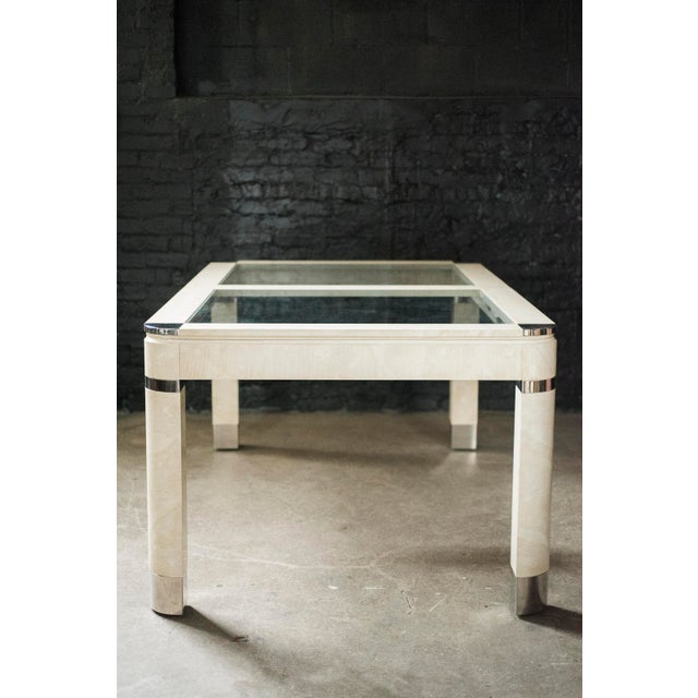 Modernist Lacquered Ivory, Chrome & Glass Extendable Dining Table in the Style of Steve Chase - Image 2 of 11