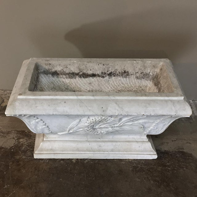 Mid 19th Century 19th Century Louis XVI Carved Carrara Marble Neoclassical Planter For Sale - Image 5 of 11