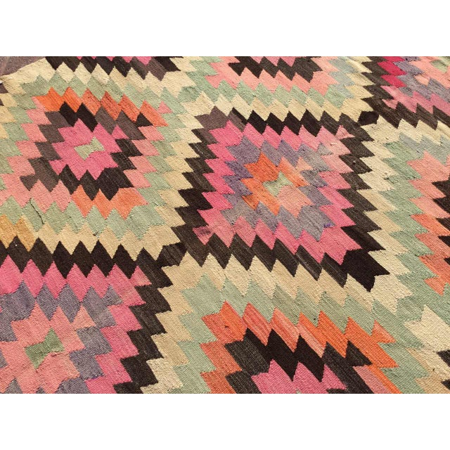 Diamond Design Kilim Rug For Sale In Raleigh - Image 6 of 9