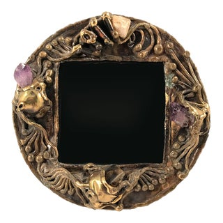 1970s Brutalist Brass Artisan-Made Picture Frame