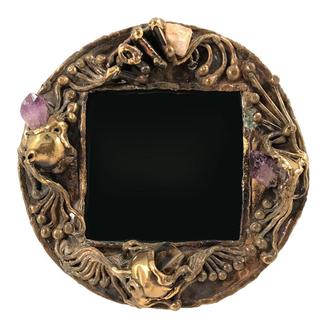 1970s Brutalist Brass Artisan-Made Picture Frame For Sale