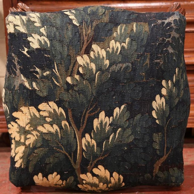 French 18th Century French Louis XV Walnut Square Stool With Aubusson Tapestry For Sale - Image 3 of 9