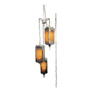 Vintage Hanging Dark Amber Swag Lamp For Sale