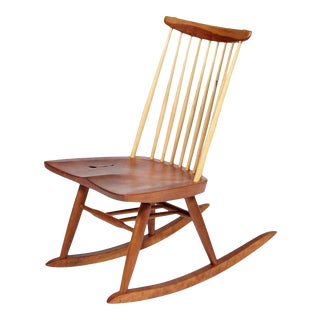 Circa 2009 Mira Nakashima Figured Rocker Chair Signed and Dated For Sale