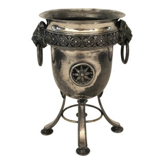 Early 20th C English Silverplate Urn With Lions Heads For Sale