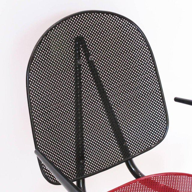 Manner of Mathieu Mategot Black and Red Perforated Metal Armchairs For Sale - Image 10 of 11