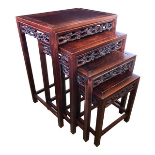 Chinese Rosewood Nesting Tables, Set of 4 For Sale