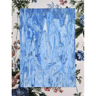 """Frances Sousa """"My/A"""" Contemporary Abstract Floral Acrylic Painting on Vintage Textile For Sale"""