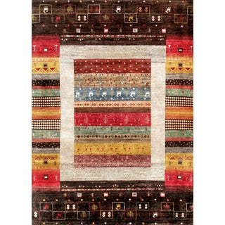 "Pasargad Gabbeh Wool Area Rug - 5'6"" X 7'10"" For Sale"