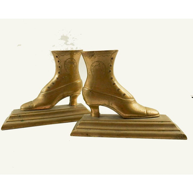 Brass 19th Century Victorian Good Luck Brass Boot Bookends - a Pair For Sale - Image 7 of 7