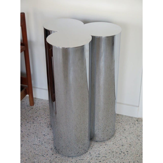 Mastercraft 1960's Stainless Steel Pedestals by Mastercraft-a Pair For Sale - Image 4 of 6