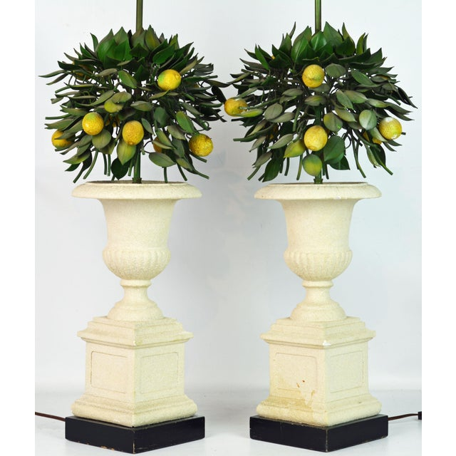 Pair of Vintage Italian Painted Tole Lemon Bush Lamps in Cast Stone Urns For Sale - Image 4 of 13