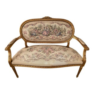 Antique Giltwood Louis XV Style Settee For Sale