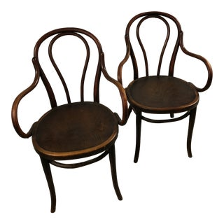 Early 20th Century Vintage Thonet Armchairs - a Pair For Sale