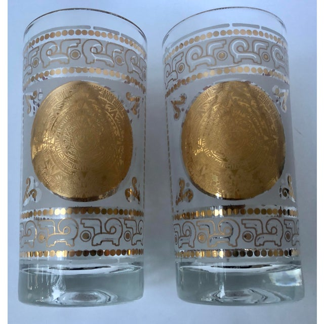 Mid 20th Century Mid 20th Century Hazel Atlas Frosted and Gilt Aztec Highball Cocktail Glasses - a Pair For Sale - Image 5 of 12
