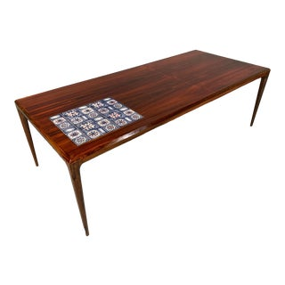Johannes Andersen for Silkeborg Danish Design Rosewood Coffee and Tile Table For Sale
