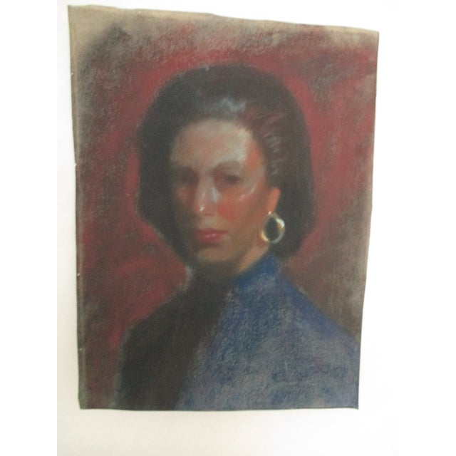 Lady With Gold Earring Pastel Portrait - Image 2 of 4