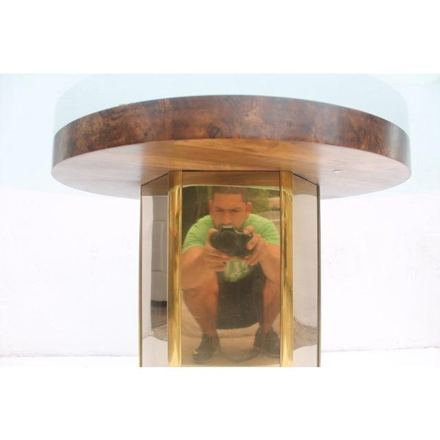 Mastercraft Vintage Burl Wood & Brass Dining Table For Sale - Image 5 of 11
