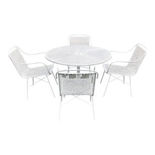 Vintage Wrought Iron Patio Dining Table & Chairs Set by National For Sale