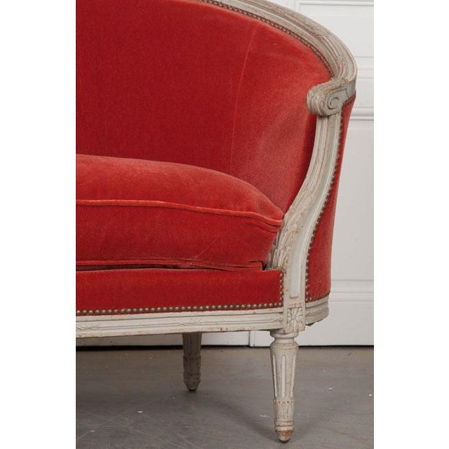 Mid 19th Century French 19th Century Painted Louis XVI Style Settee For Sale - Image 5 of 11