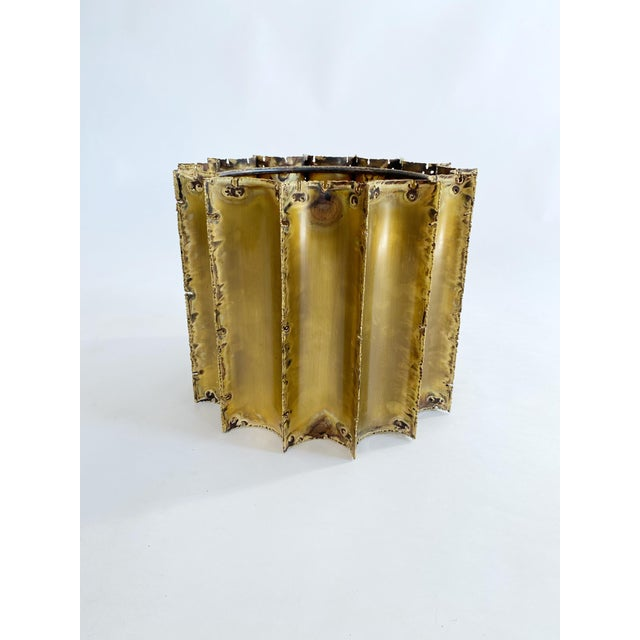 1970s 1970s Tom Greene Brutalist Brass Coffee Table Glass Top For Sale - Image 5 of 6