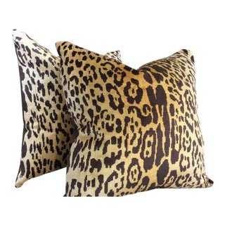Contemporary Scalamandre Pillow Covers in Silk Velvet Leopardo - a Pair For Sale