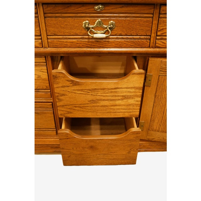 """Late 20th Century 20th Century Traditional Lexington Furniture Recollections Collection Solid Oak 64"""" Triple Door Dresser with Mirror For Sale - Image 5 of 13"""