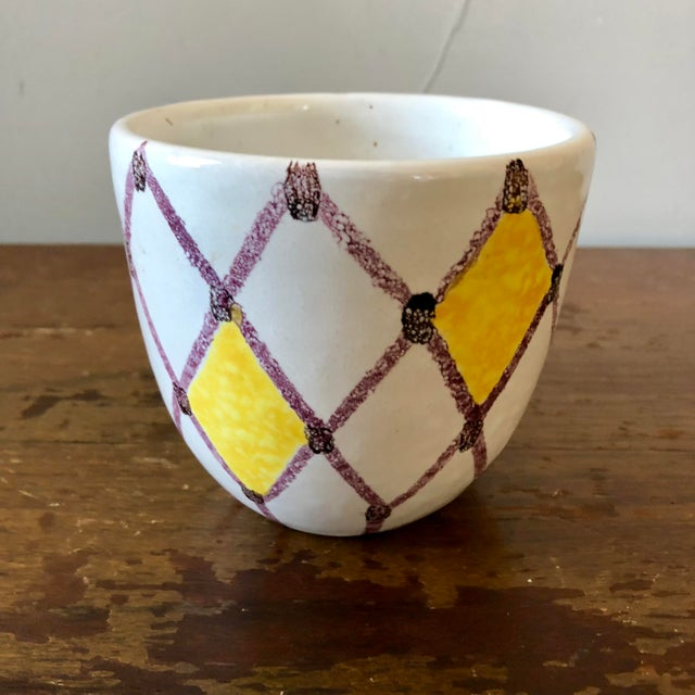 Vintage White Yellow Purple Italian Pottery Pot For Sale - Image 4 of 4