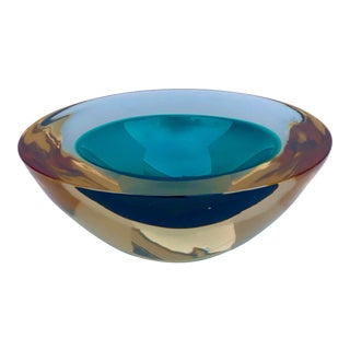 Murano Glass Sommerso Geode Bowl by Cenedese For Sale